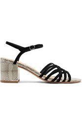 Alexandre Birman Berthe Suede And Watersnake Sandals Black