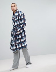 Asos Shawl Neck Fleece Checked Dressing Gown Oxblood Red