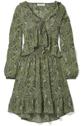 Michael Michael Kors Ruffled Printed Chiffon Mini Dress Green