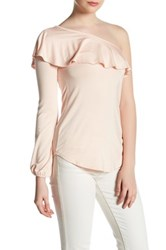 Go Couture One Shoulder Ruffle Tee Pink
