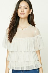 Forever 21 Tiered Ruffle Mesh Top Taupe
