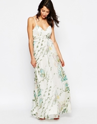 Traffic People Silk Maxi Dress In Large Butterfly Print With Metallic Thread White