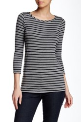 Harlowe And Graham 3 4 Length Sleeve Stripe Tee Gray