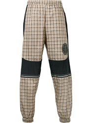 Astrid Andersen Logo Patch Checked Trousers Nude And Neutrals