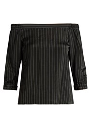 Tibi Striped Off The Shoulder Satin Top Black Multi