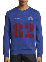 Eleven Paris Cobra Cotton Long Sleeve Pullover Royal Blue