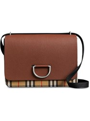 Burberry The Medium Vintage Check And Leather D Ring Bag Brown