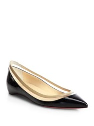 Christian Louboutin Paulina Patent Leather And Plastic Point Toe Flats Black Beige