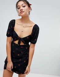 Honey Punch Cut Out Front Tea Dress In Cherry Print Black