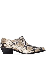 Rejina Pyo Beige Dolores 50 Snake Print Leather Brogues Neutrals