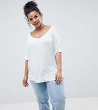 Asos Design Curve T Shirt With Drapey Batwing Sleeve In White
