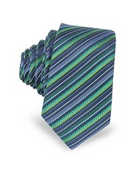 Laura Biagiotti Navy Blue And Green Diagonal Stripe Woven Silk Extra Narrow Tie