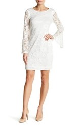 Robbie Bee Long Sleeve Textured Lace Midi Dress White