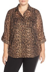Plus Size Women's Michael Michael Kors Studded Collar Shirt With Metallic Detail