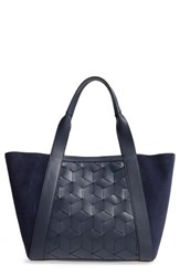 Welden Large Traverse Calfskin Leather And Suede Tote Blue Navy