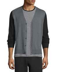 Atm Anthony Thomas Melillo Colorblock Button Down Cashmere Cardigan Black Charcoal Black Grey