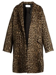 Raey Leopard Print Wool Blend Blanket Coat