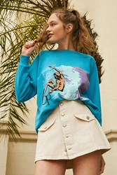 Op For Uo Surfer Striped Crew Neck Sweatshirt Turquoise