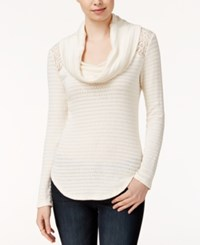 Maison Jules Cowl Neck Contrast Sweater Only At Macys Egret