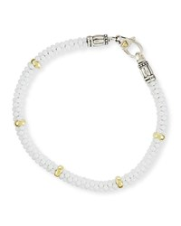 Lagos 5Mm 18K White Gold And Ceramic Caviar Bracelet
