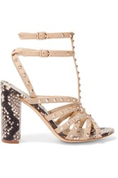 Sam Edelman Yadria Studded And Snake Effect Leather Sandals Beige