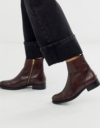 Carvela Leather Flat Ankle Boots Red