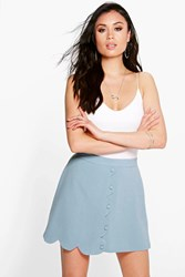 Boohoo Scallop Wrap Front Woven Mini Skirt Blue
