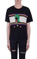Saint Laurent Men's Graphic Cotton T Shirt Black