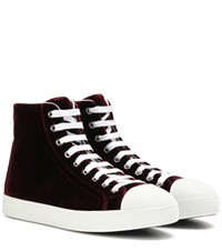 Prada Velvet High Top Sneakers Red