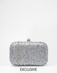 Chi Chi London Box Clutch Bag In All Over Grey Sequin Grey
