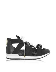 Vionnet Leather And Elaph Pon Pon Sneakers Black