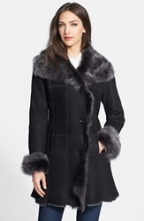 Hide Society Women's Hiso Genuine Shearling Coat Black Brisa