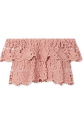Miguelina Angelica Cropped Off The Shoulder Crocheted Cotton Lace Top Antique Rose