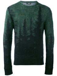 Dsquared2 Gradient Embroidered Sweater Men Polyamide Mohair Wool S Green