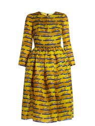 Mary Katrantzou Wilson Striped Cheetah Print Satin Dress Yellow Multi