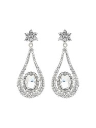 Mikey Crystal Multi Oval Drop Earring White