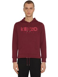 Kenzo Embroidered Jersey Sweatshirt Hoodie Bordeaux