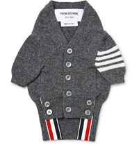 Thom Browne Hector Striped Cashmere Dog Cardigan Dark Gray