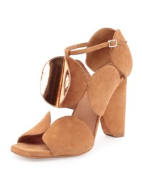 Dries Van Noten Circle Cut Suede Block Heel Sandal Tan