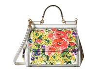 Dolce And Gabbana Floral Printed Sicily Bag White