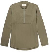 Folk Mandarin Collar Cotton Twill And Jersey Half Zip Shirt Green
