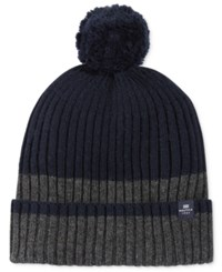 Nautica Men's Fleece Lined Striped Pom Pom Beanie Granite Heather Multi 2