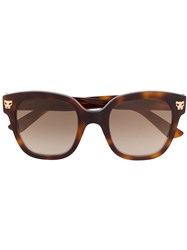 Cartier Oversized Square Frame Sunglasses Brown