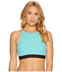 Hurley Quick Dry High Neck Top Washed Teal Women's Swimwear Blue