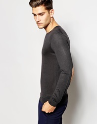 United Colors Of Benetton Silk Mix Knitted Crew Neck Jumper With Elbow Patches Charcoal19e