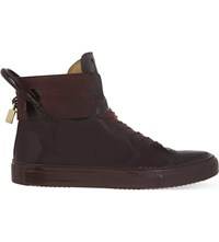 Buscemi 125Mm Padlock Patent Leather High Top Trainers Wine