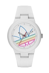 Adidas Unisex Aberdeen Casual Silicone Watch White And Multi