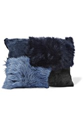 Iris And Ink Carla Shearling Clutch Navy