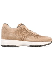 Hogan Lace Up Trainers Nude Neutrals