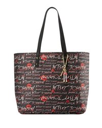 Betsey Johnson Allover Logo Print Faux Leather Tote Bag Black